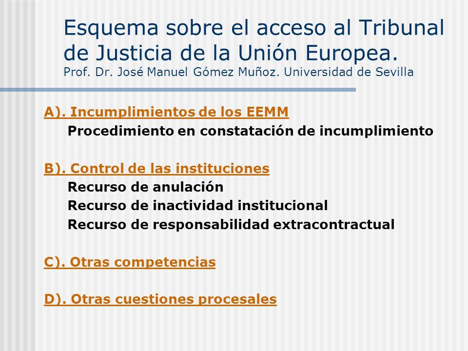 Esquema sobre el acceso al Tribunal de Justicia de la Unión Europea. Prof. Dr. José Manuel Gómez Muñoz. Universidad de Sevilla A). Incumplimientos de