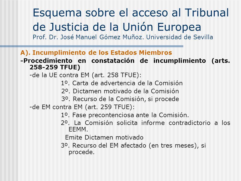 A). Incumplimiento de los Estados Miembros -Procedimiento en constatación de incumplimiento (arts. 258-259 TFUE) -de la UE contra EM (art. 258 TFUE):