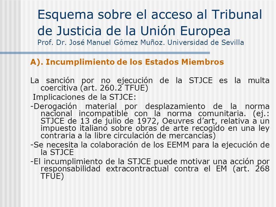 A). Incumplimiento de los Estados Miembros La sanción por no ejecución de la STJCE es la multa coercitiva (art. 260.2 TFUE) Implicaciones de la STJCE: