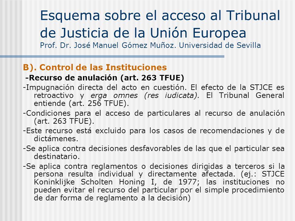B). Control de las Instituciones -Recurso de anulación (art. 263 TFUE) -Impugnación directa del acto en cuestión. El efecto de la STJCE es retroactivo
