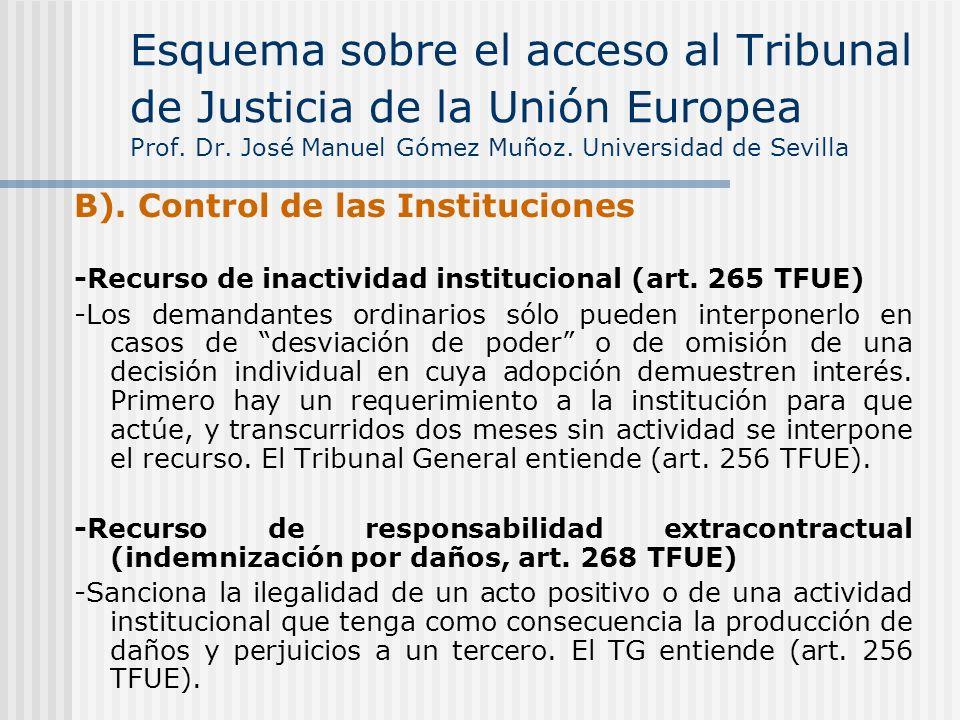 B). Control de las Instituciones -Recurso de inactividad institucional (art. 265 TFUE) -Los demandantes ordinarios sólo pueden interponerlo en casos d