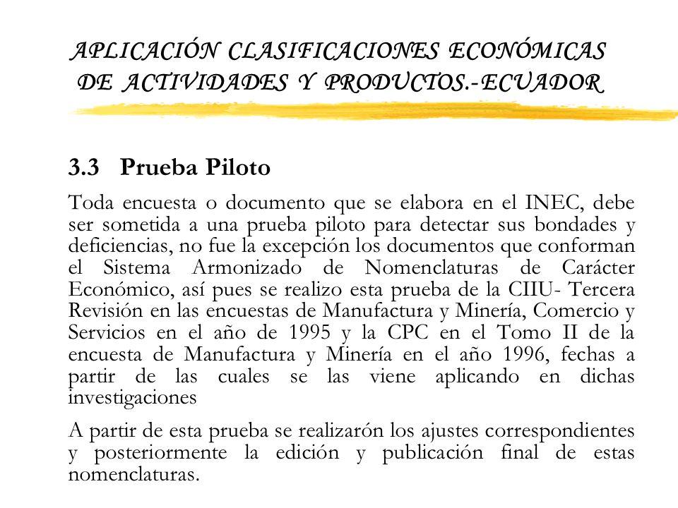 APLICACIÓN CLASIFICACIONES ECONÓMICAS DE ACTIVIDADES Y PRODUCTOS.- ECUADOR 3.2 Elaboración de Documentos Preliminares Con la información recabada, se