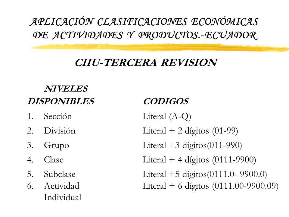 APLICACIÓN CLASIFICACIONES ECONÓMICAS DE ACTIVIDADES Y PRODUCTOS.- ECUADOR establezcan nuevas desagregaciones: SUBCLASE ( cinco dígitos) cuyos element