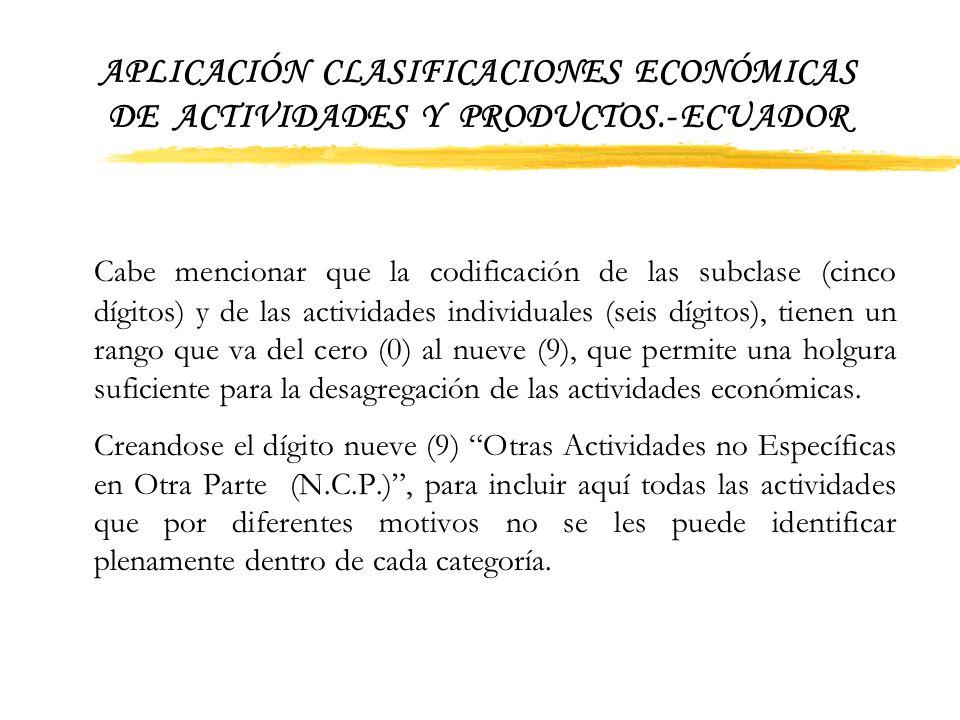 APLICACIÓN CLASIFICACIONES ECONÓMICAS DE ACTIVIDADES Y PRODUCTOS.- ECUADOR CIIU-TERCERA REVISION NIVELES DISPONIBLESCODIGOS 1.SecciónLiteral (A-Q) 2.