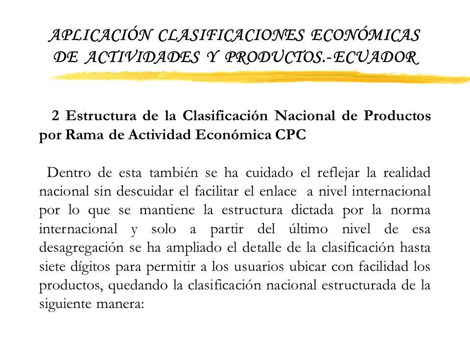 APLICACIÓN CLASIFICACIONES ECONÓMICAS DE ACTIVIDADES Y PRODUCTOS.- ECUADOR Cabe mencionar que la codificación de las subclase (cinco dígitos) y de las