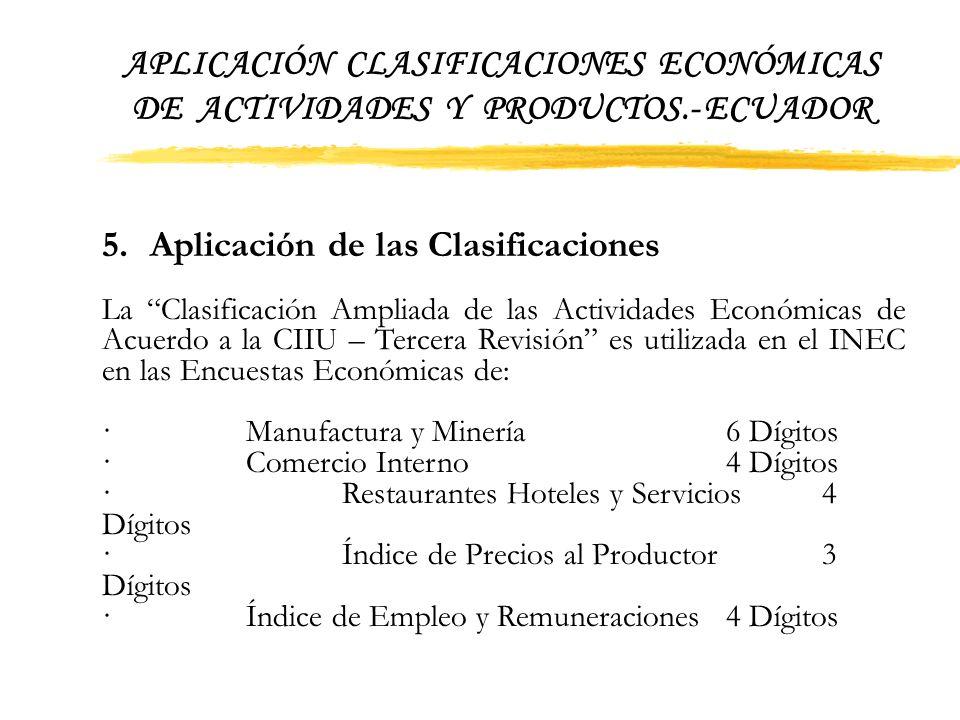 APLICACIÓN CLASIFICACIONES ECONÓMICAS DE ACTIVIDADES Y PRODUCTOS.- ECUADOR Al igual que en las actividades se creó el dígito nueve (9) Otros Productos