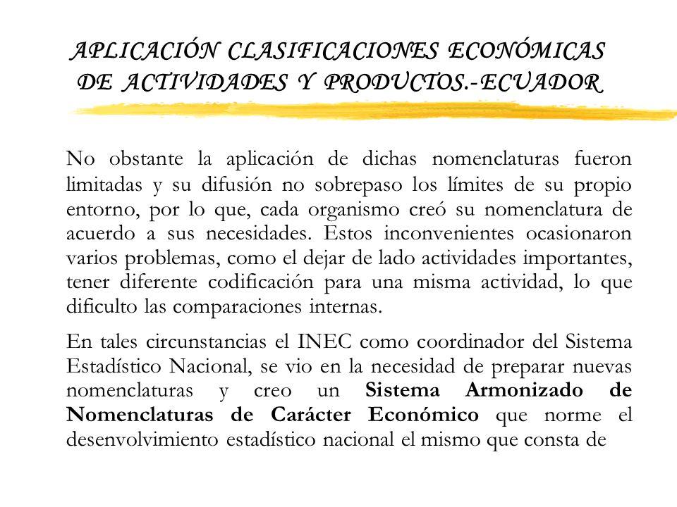 APLICACIÓN CLASIFICACIONES ECONÓMICAS DE ACTIVIDADES Y PRODUCTOS.- ECUADOR 1. Antecedentes Desde la década de los años 70 aproximadamente, las diversa