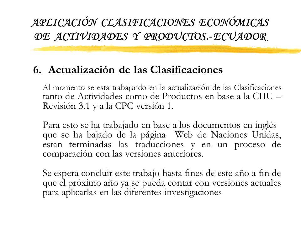 APLICACIÓN CLASIFICACIONES ECONÓMICAS DE ACTIVIDADES Y PRODUCTOS.- ECUADOR Así también en las Encuestas de Hogares: · Encuesta Nacional de Ingresos y