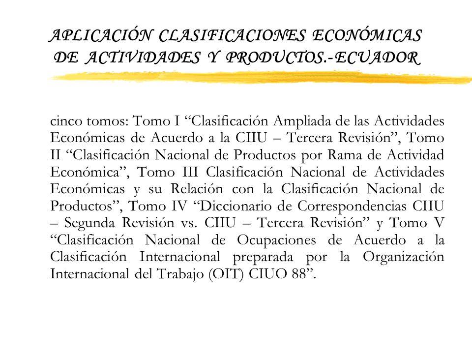 APLICACIÓN CLASIFICACIONES ECONÓMICAS DE ACTIVIDADES Y PRODUCTOS.- ECUADOR No obstante la aplicación de dichas nomenclaturas fueron limitadas y su dif