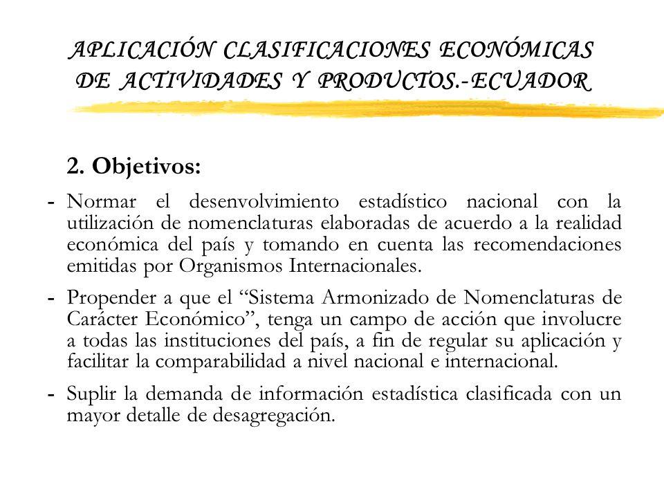 APLICACIÓN CLASIFICACIONES ECONÓMICAS DE ACTIVIDADES Y PRODUCTOS.- ECUADOR DIFERENCIAS INSTITUCIONALES EN LA CODIFICACION DE LA RAMA DE ACTIVIDAD ECON