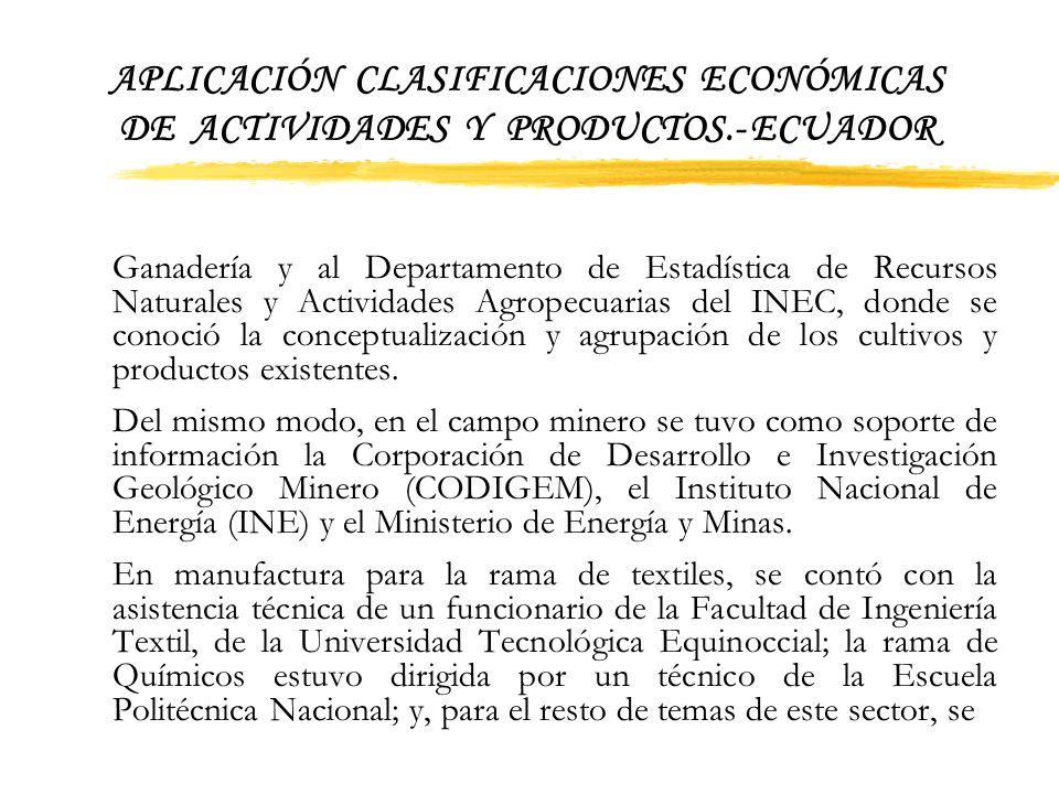 APLICACIÓN CLASIFICACIONES ECONÓMICAS DE ACTIVIDADES Y PRODUCTOS.- ECUADOR 3. Procedimientos previos a la aplicación Previa la aplicación de las nomen