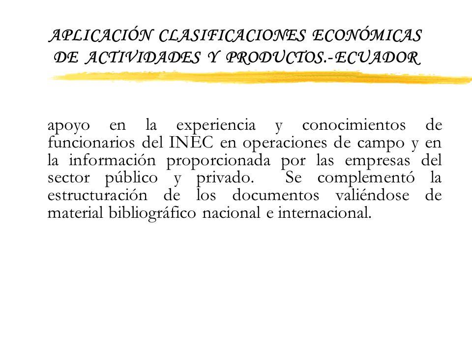 APLICACIÓN CLASIFICACIONES ECONÓMICAS DE ACTIVIDADES Y PRODUCTOS.- ECUADOR Ganadería y al Departamento de Estadística de Recursos Naturales y Activida