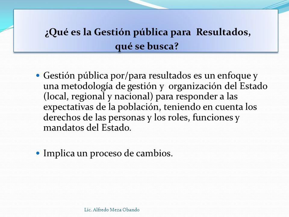 ¿Qué es la Gestión pública para Resultados, qué se busca? Gestión pública por/para resultados es un enfoque y una metodología de gestión y organizació