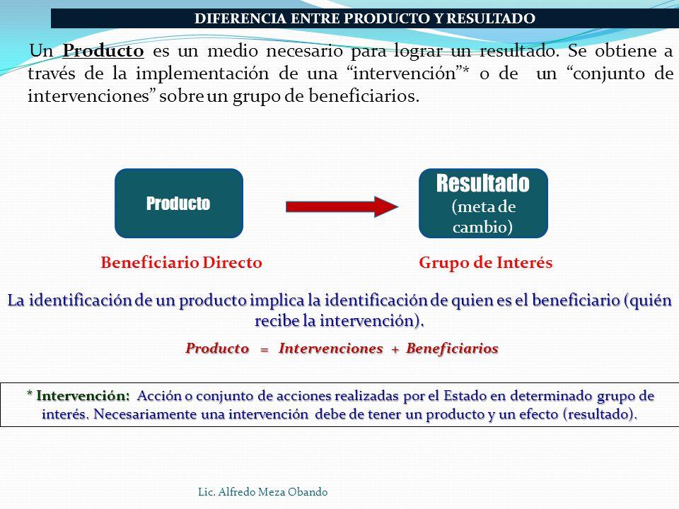 Un Producto es un medio necesario para lograr un resultado. Se obtiene a través de la implementación de una intervención* o de un conjunto de interven