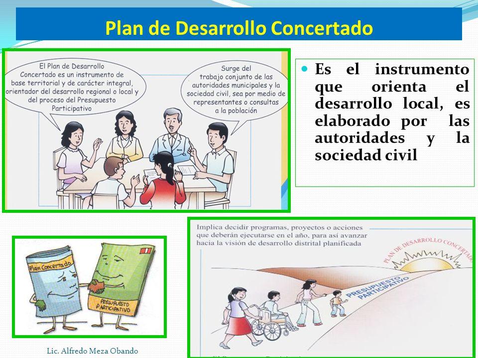 Plan de Desarrollo Concertado Es el instrumento que orienta el desarrollo local, es elaborado por las autoridades y la sociedad civil Lic. Alfredo Mez