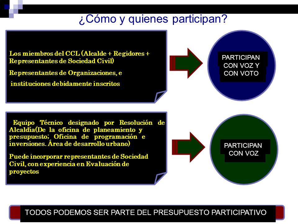¿Cómo y quienes participan? Los miembros del CCL (Alcalde + Regidores + PARTICIPAN Representantes de Sociedad Civil) CON VOZ Y Representantes de Organ