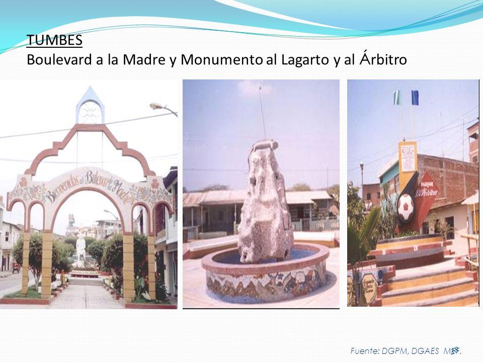 38 TUMBES Boulevard a la Madre y Monumento al Lagarto y al Á rbitro Fuente: DGPM, DGAES MEF.