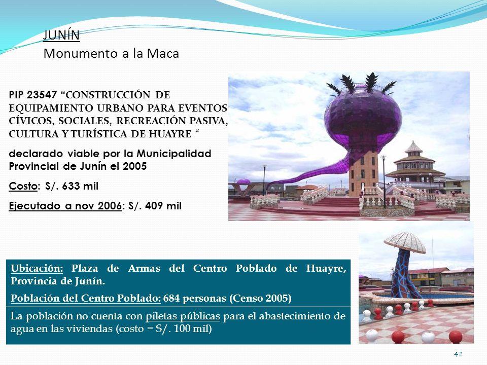 42 JUNÍN Monumento a la Maca Ubicación: Plaza de Armas del Centro Poblado de Huayre, Provincia de Junín. Población del Centro Poblado: 684 personas (C