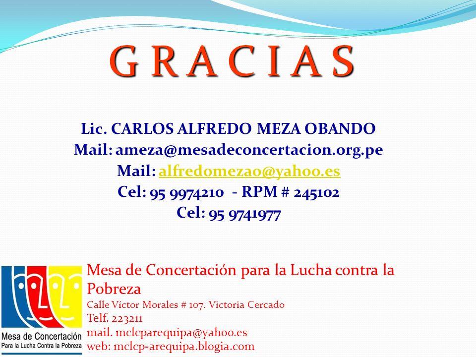 Lic. CARLOS ALFREDO MEZA OBANDO Mail: ameza@mesadeconcertacion.org.pe Mail: alfredomezao@yahoo.esalfredomezao@yahoo.es Cel: 95 9974210 - RPM # 245102