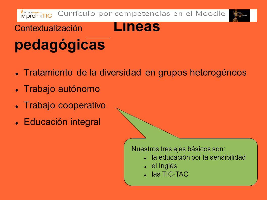 Contextualización Líneas pedagógicas Tratamiento de la diversidad en grupos heterogéneos Trabajo autónomo Trabajo cooperativo Educación integral Nuest