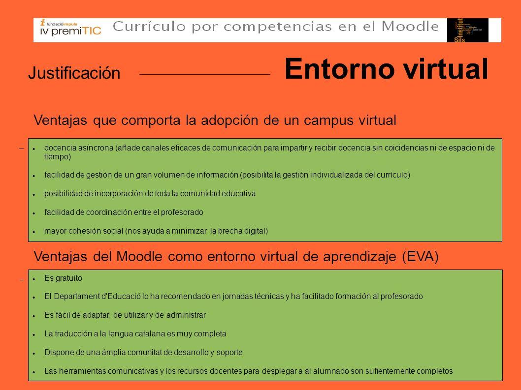 Justificación Entorno virtual Ventajas que comporta la adopción de un campus virtual Ventajas del Moodle como entorno virtual de aprendizaje (EVA) doc