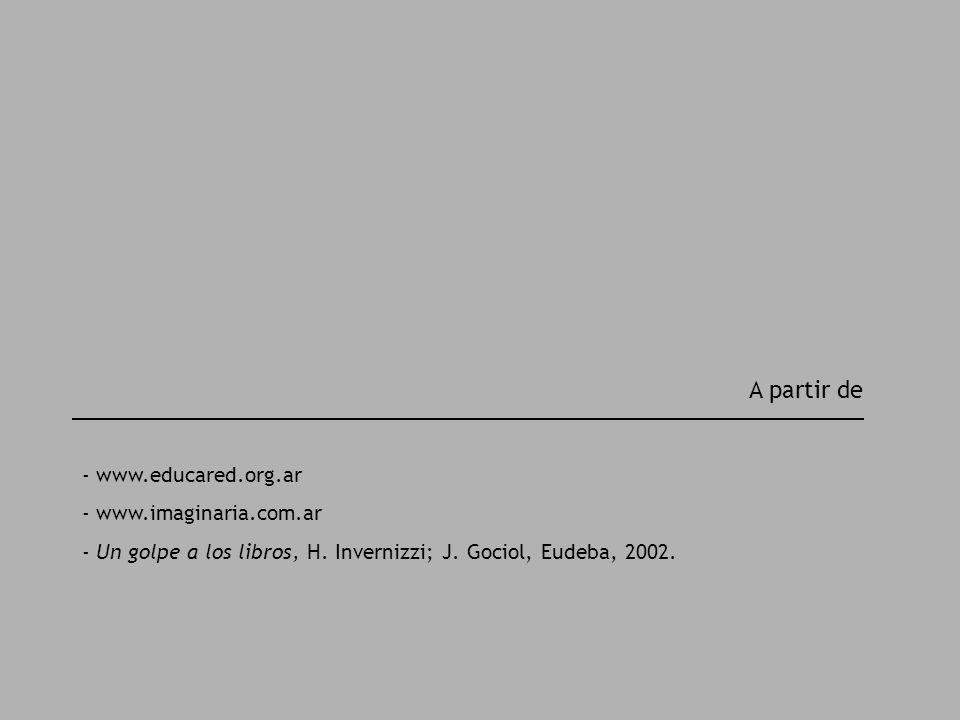A partir de - www.educared.org.ar - www.imaginaria.com.ar - Un golpe a los libros, H. Invernizzi; J. Gociol, Eudeba, 2002.