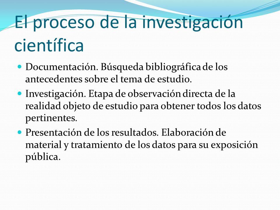 El proceso de la investigación científica Documentación. Búsqueda bibliográfica de los antecedentes sobre el tema de estudio. Investigación. Etapa de