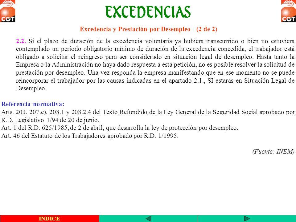 Excedencia y Prestación por Desempleo (2 de 2) 2.2. Si el plazo de duración de la excedencia voluntaria ya hubiera transcurrido o bien no estuviera co