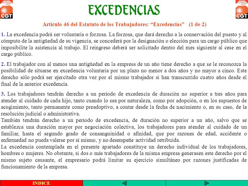 Artículo 46 del Estatuto de los Trabajadores: Excedencias (1 de 2) INDICE 1. La excedencia podrá ser voluntaria o forzosa. La forzosa, que dará derech