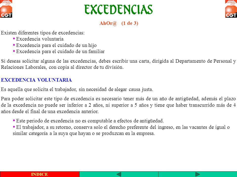 AhOr@ (1 de 3) Existen diferentes tipos de excedencias: Excedencia voluntaria Excedencia para el cuidado de un hijo Excedencia para el cuidado de un f