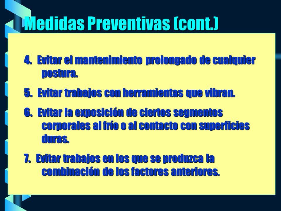 Medidas Preventivas (cont.) 4.Evitar el mantenimiento prolongado de cualquier postura.