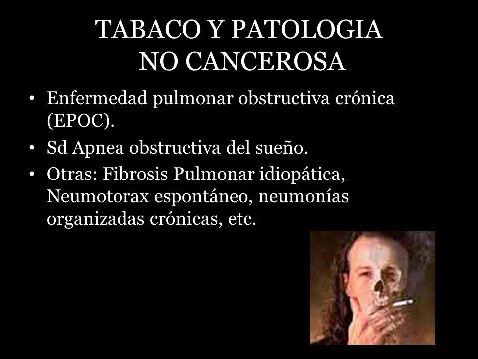 TABACO Y PATOLOGIA NO CANCEROSA Enfermedad pulmonar obstructiva crónica (EPOC). Sd Apnea obstructiva del sueño. Otras: Fibrosis Pulmonar idiopática, N