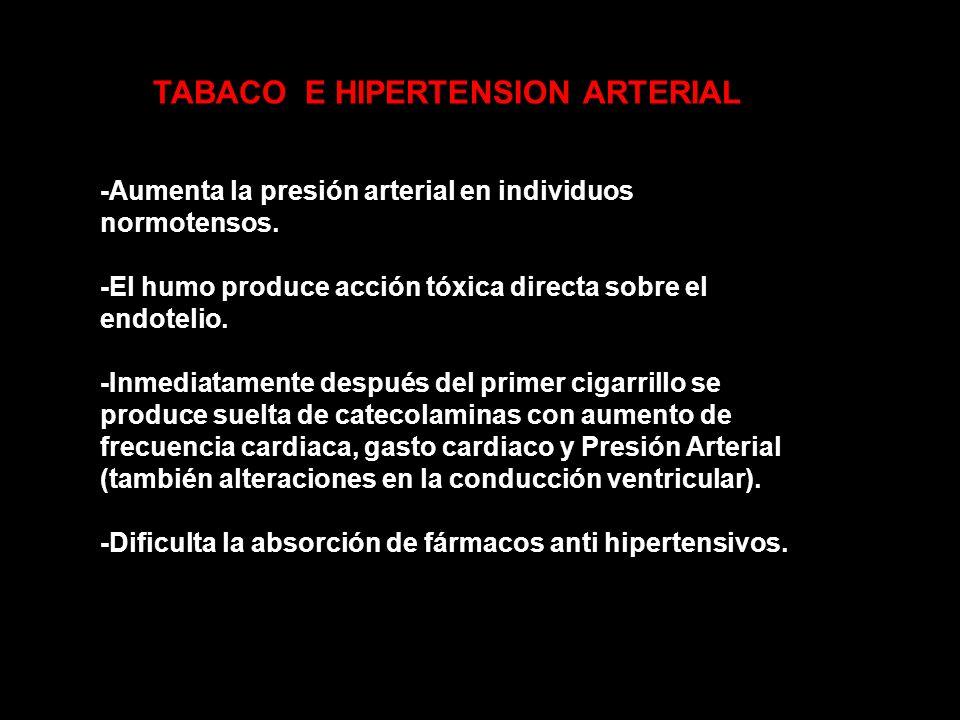 TABACO E HIPERTENSION ARTERIAL -Aumenta la presión arterial en individuos normotensos. -El humo produce acción tóxica directa sobre el endotelio. -Inm