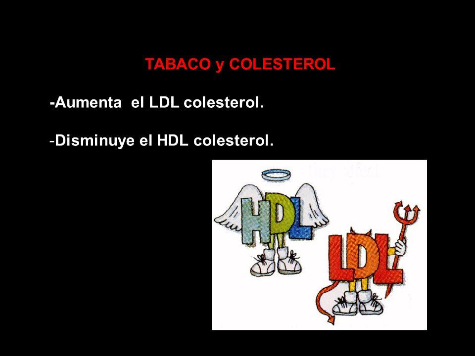 TABACO y COLESTEROL -Aumenta el LDL colesterol. -Disminuye el HDL colesterol.