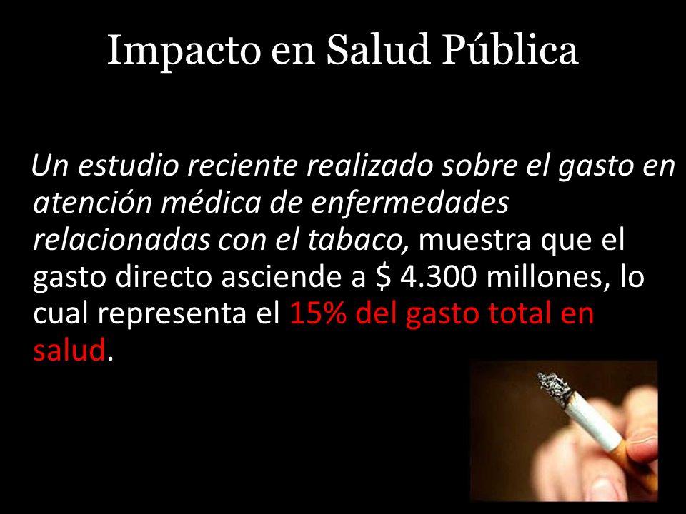 Impacto en Salud Pública Un estudio reciente realizado sobre el gasto en atención médica de enfermedades relacionadas con el tabaco, muestra que el ga
