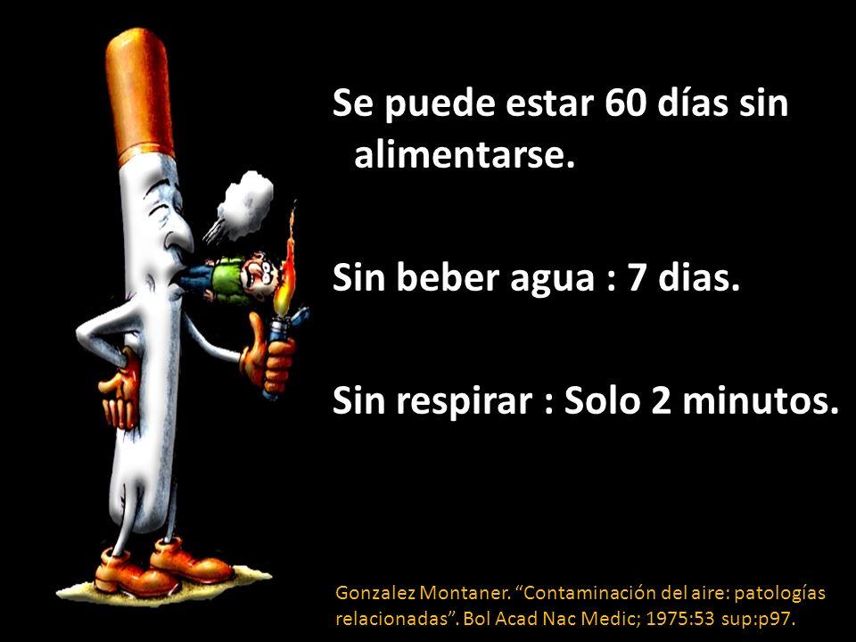 Se puede estar 60 días sin alimentarse. Sin beber agua : 7 dias. Sin respirar : Solo 2 minutos. Gonzalez Montaner. Contaminación del aire: patologías