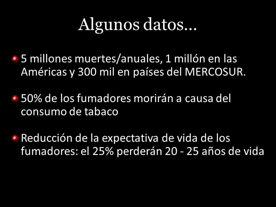 Algunos datos… 5 millones muertes/anuales, 1 millón en las Américas y 300 mil en países del MERCOSUR. 50% de los fumadores morirán a causa del consumo