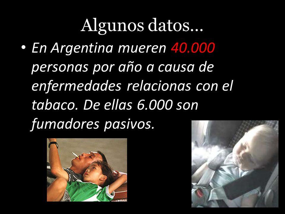 Algunos datos… En Argentina mueren 40.000 personas por año a causa de enfermedades relacionas con el tabaco. De ellas 6.000 son fumadores pasivos.