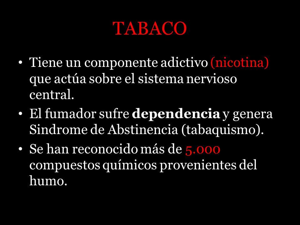 TABACO Tiene un componente adictivo (nicotina) que actúa sobre el sistema nervioso central. El fumador sufre dependencia y genera Sindrome de Abstinen