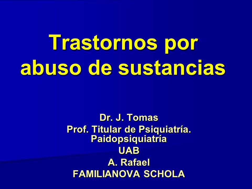 Trastornos por abuso de sustancias Dr. J. Tomas Prof. Titular de Psiquiatría. Paidopsiquiatría UAB A. Rafael FAMILIANOVA SCHOLA