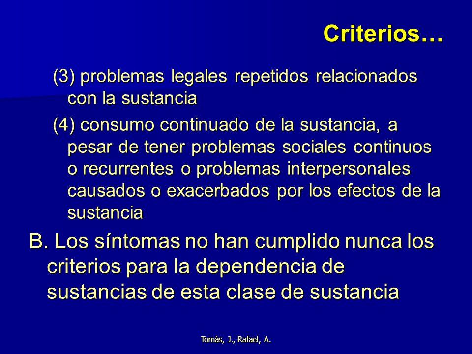 Tomàs, J., Rafael, A. Criterios… (3) problemas legales repetidos relacionados con la sustancia (4) consumo continuado de la sustancia, a pesar de tene