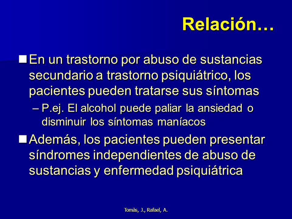 Tomàs, J., Rafael, A. Relación… En un trastorno por abuso de sustancias secundario a trastorno psiquiátrico, los pacientes pueden tratarse sus síntoma