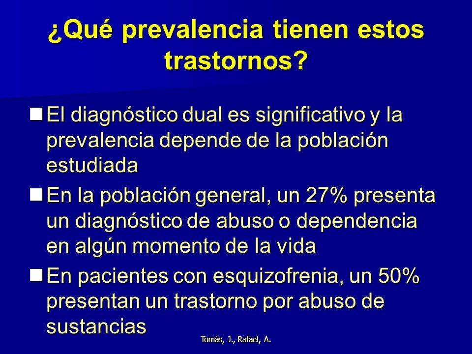 Tomàs, J., Rafael, A. ¿Qué prevalencia tienen estos trastornos? El diagnóstico dual es significativo y la prevalencia depende de la población estudiad