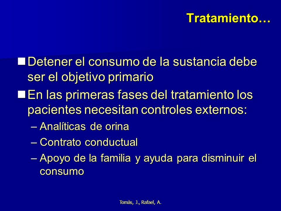 Tomàs, J., Rafael, A. Tratamiento… Detener el consumo de la sustancia debe ser el objetivo primario Detener el consumo de la sustancia debe ser el obj