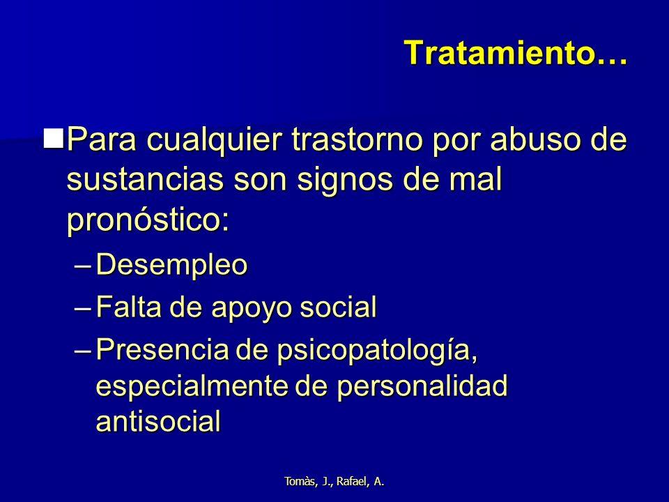 Tomàs, J., Rafael, A. Tratamiento… Para cualquier trastorno por abuso de sustancias son signos de mal pronóstico: Para cualquier trastorno por abuso d