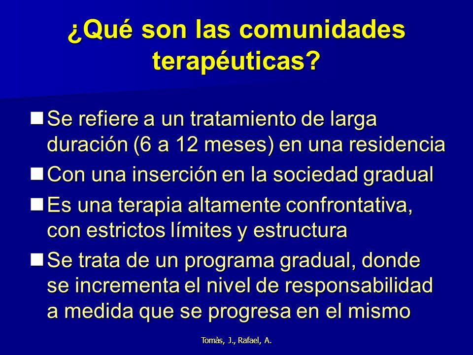 Tomàs, J., Rafael, A. ¿Qué son las comunidades terapéuticas? Se refiere a un tratamiento de larga duración (6 a 12 meses) en una residencia Se refiere