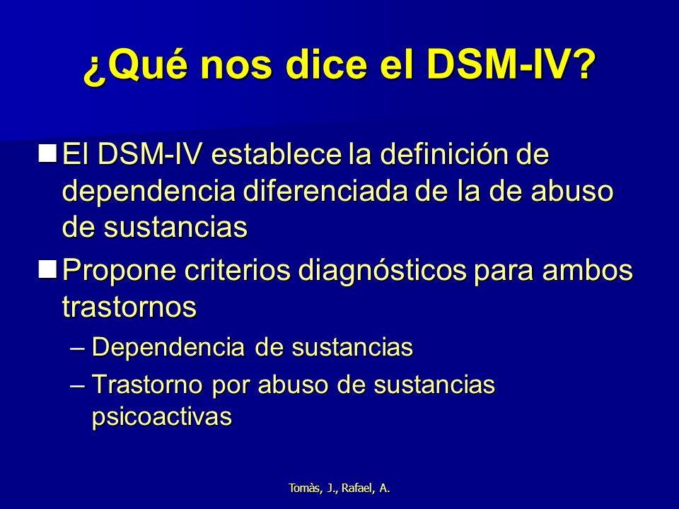 Tomàs, J., Rafael, A. ¿Qué nos dice el DSM-IV? El DSM-IV establece la definición de dependencia diferenciada de la de abuso de sustancias El DSM-IV es