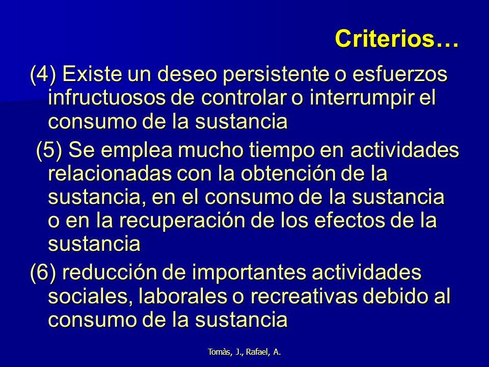 Tomàs, J., Rafael, A. Criterios… (4) Existe un deseo persistente o esfuerzos infructuosos de controlar o interrumpir el consumo de la sustancia (5) Se