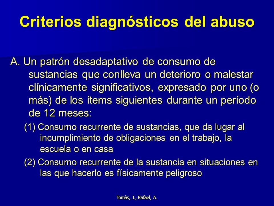 Tomàs, J., Rafael, A. Criterios diagnósticos del abuso A. Un patrón desadaptativo de consumo de sustancias que conlleva un deterioro o malestar clínic