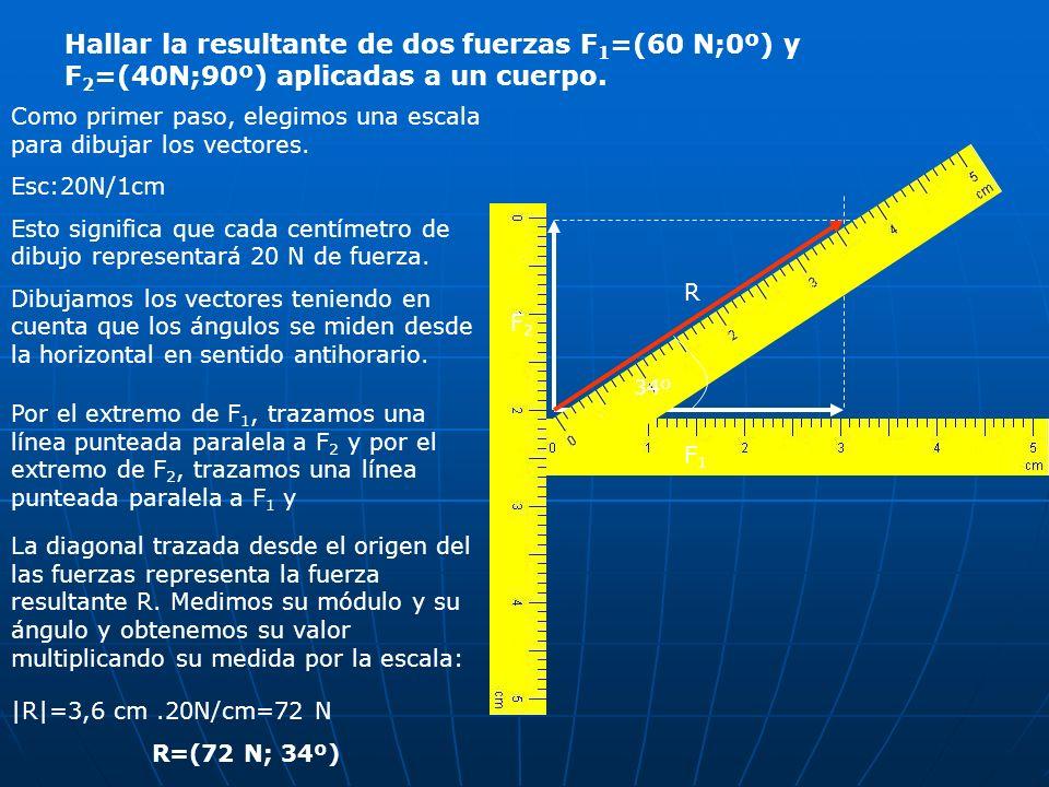 Hallar la resultante de dos fuerzas F 1 =(60 N;0º) y F 2 =(40N;90º) aplicadas a un cuerpo. Como primer paso, elegimos una escala para dibujar los vect